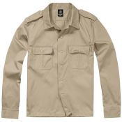 US Hemd Langarm, beige checkered