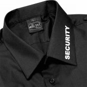 Security Hemd mit Kragenaufdruck Langarm, schwarz