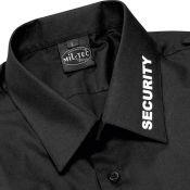 Pilotenhemd Kurzarm mit Security-Aufdruck, schwarz