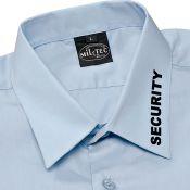 Pilotenhemd Kurzarm mit Security-Aufdruck, hellblau